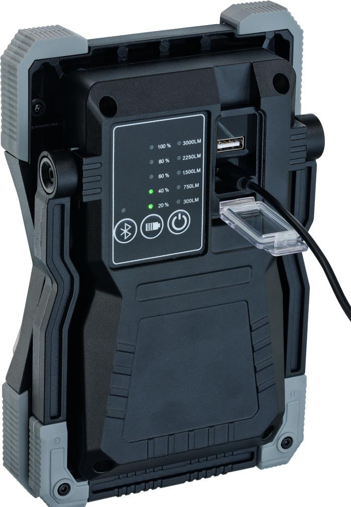 Mobiler LED Akku Strahler BRENNENSTUHL RUFUS 3010 MA mit Bluetooth Lautsprecher