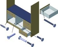 Möbelgriffschrauben-Verbindungssystem ferronorm