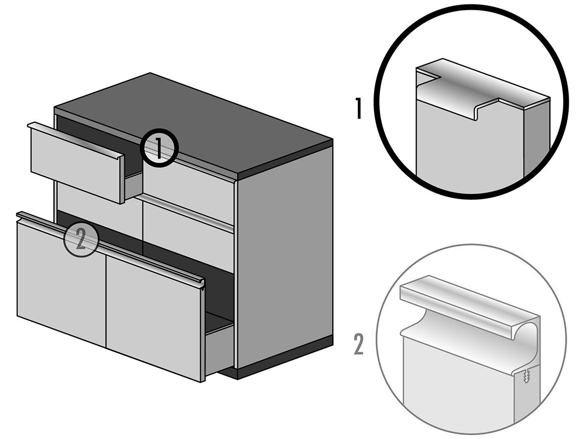Griffleistenprofile mit Profiltiefe 37 mm