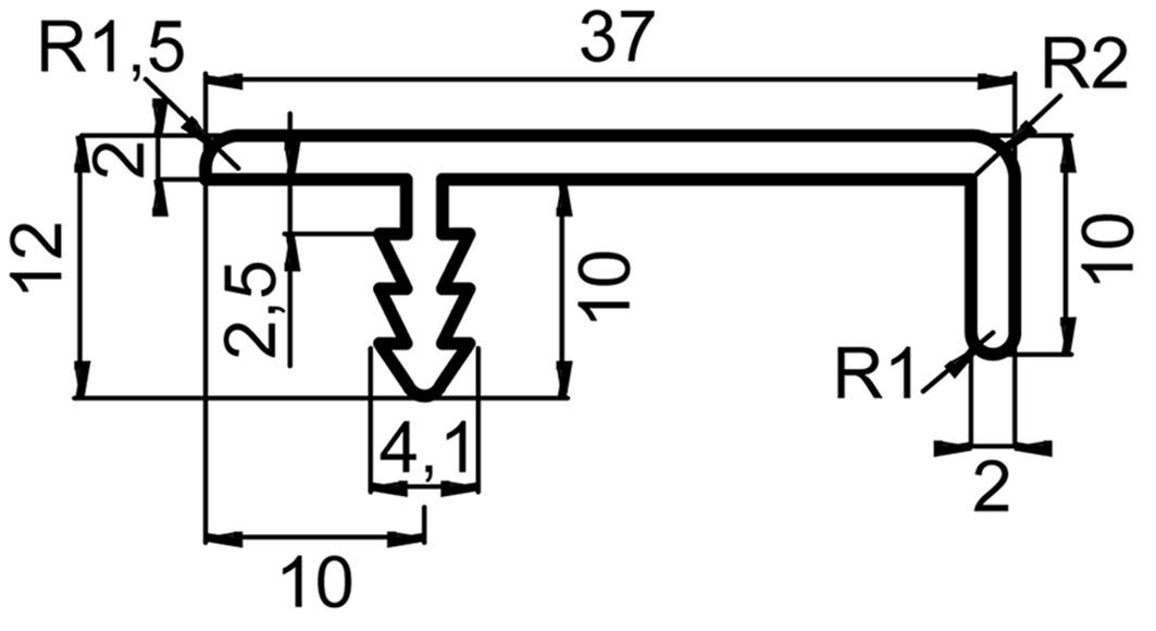 Griffleistenprofile mit Profiltiefe 37 mm auf Mass