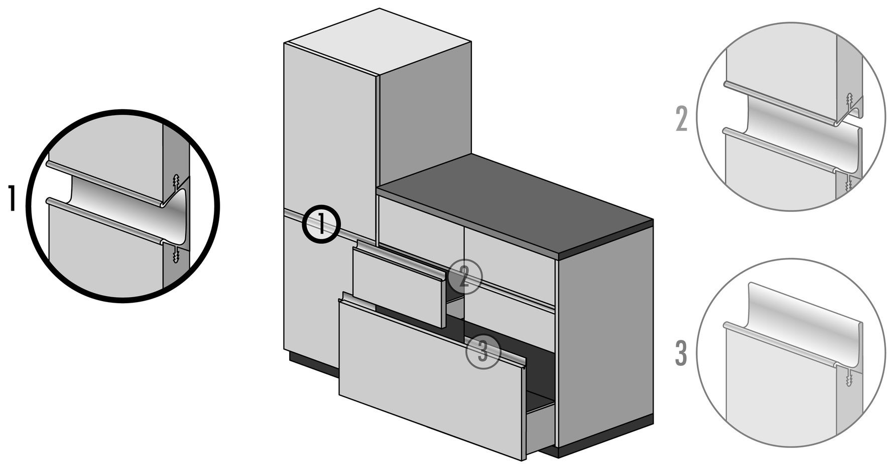 Griffleistenprofile mit Profilhöhe 57 mm auf Mass
