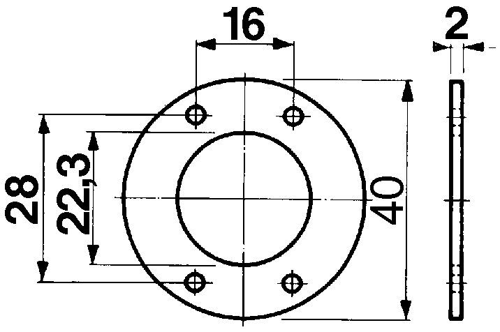 Distanzscheiben für Aufschraub-Riegelschlösser KABA 8, Typ 2006