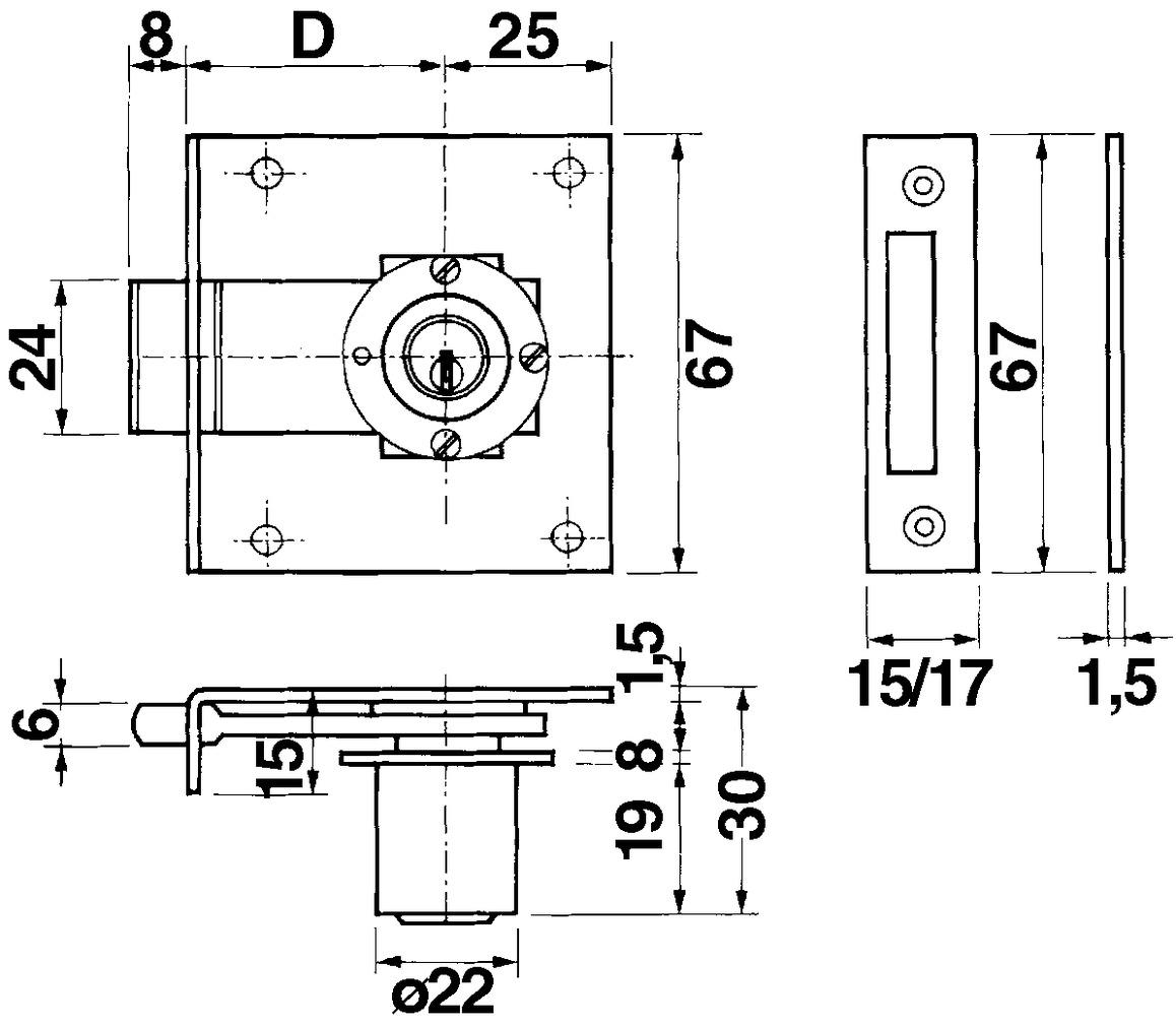 Einlass-Riegelschlösser KABA 6 Typ 1012