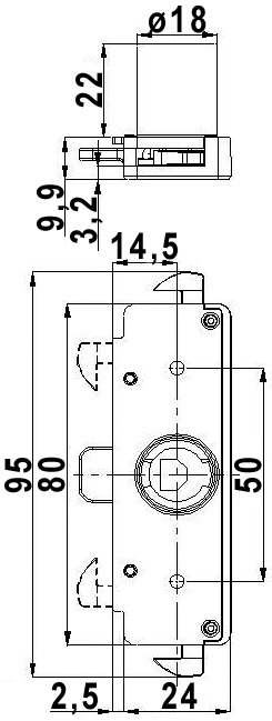 Rollladenschloss mit Doppelhaken WKS - P5000