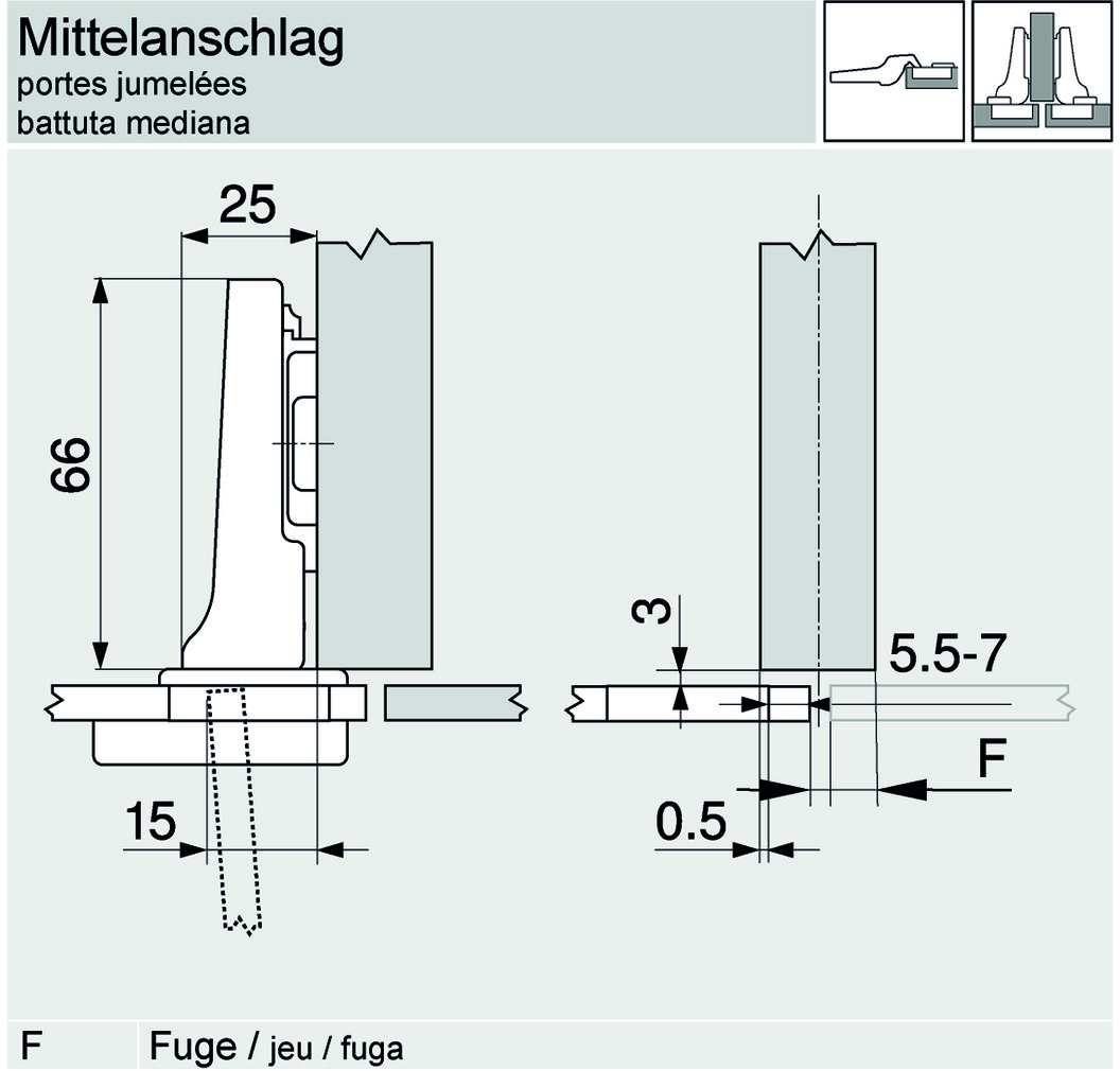 Topfbänder BLUM CLIP top, Glastürscharnier 94 °