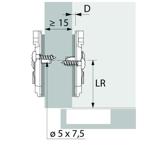 Kreuzmontageplatten HETTICH Sensys/Intermat Direkt 8099, Eck- und Mittelwandmontage