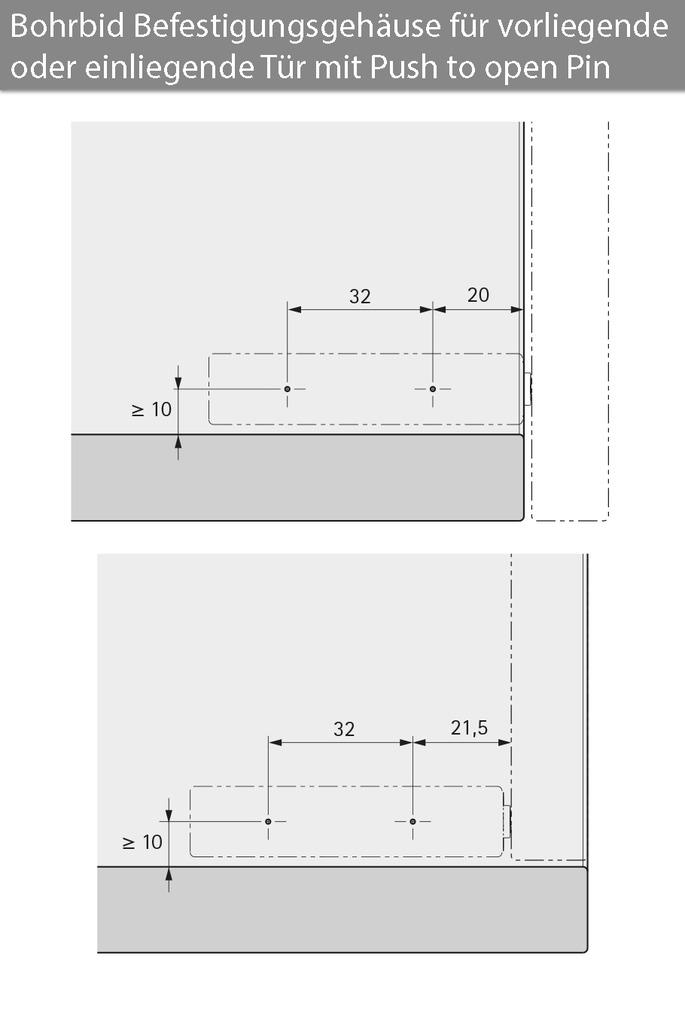Designadapter HETTICH für Push-to-open