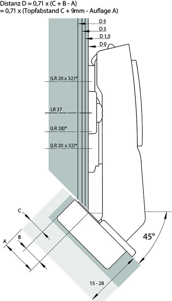 45° Topfbänder HETTICH Sensys 8639i W45, Eckband vorliegend