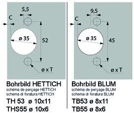 Topfbänder HETTICH Sensys 8669 W90, Stollenkonstruktion 95°