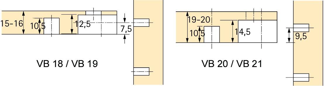 Exzenter-Verbindungsbeschlag HETTICH VB 20 / 21