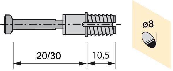 Schnellmontagedübel HETTICH Rapid S zu Rastex 15