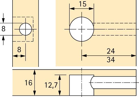 Exzenter-Verbindungsbeschlag HETTICH Rastex 15, für 16 mm Fachböden