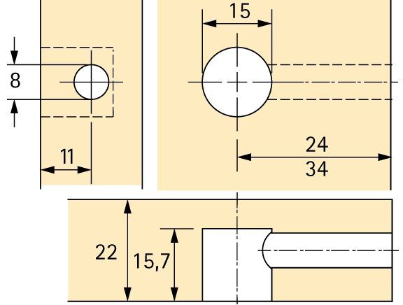 Exzenter-Verbindungsbeschlag HETTICH Rastex 15, für 22 mm Fachböden