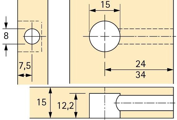 Exzenter-Verbindungsbeschlag HETTICH Rastex 15, für 15 mm Fachböden