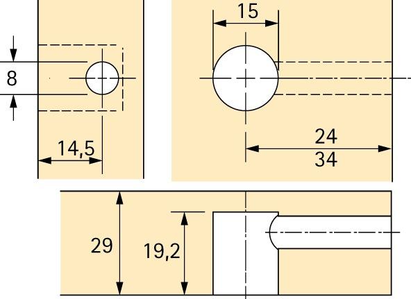 Exzenter-Verbindungsbeschlag HETTICH Rastex 15, für 29 mm Fachböden