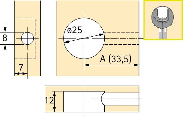 Exzenter-Verbindungsbeschlag HETTICH Rastex 25