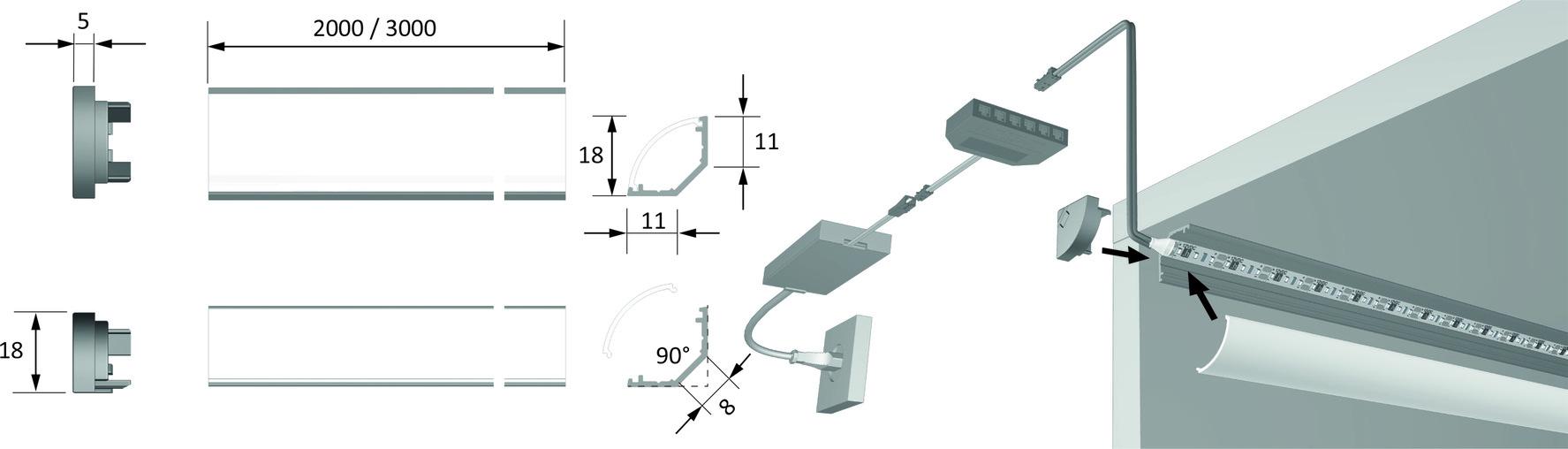 LED Anbauprofile HALEMEIER ChannelLine H 45° mit Lichtblende