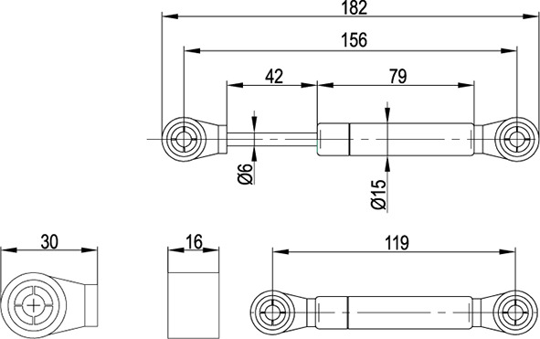 Gasdruck-Klappenstütze