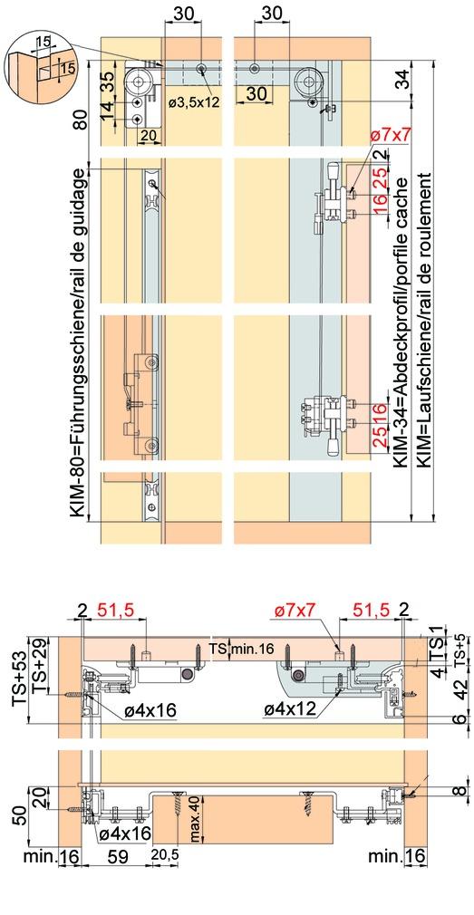 Vertikal-Schiebetürbeschläge EKU-LIBRA 20 H Inslide / Forslide, für 1-2 Holztüren