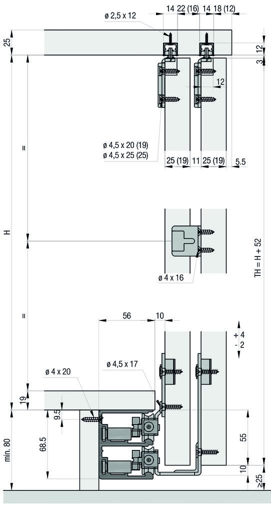 Schiebetürbeschläge EKU-Combino 50 H MS, Mixslide