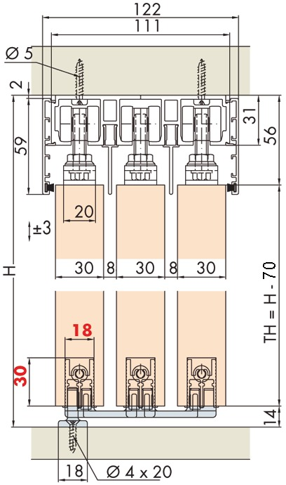 Stapelungsbeschläge EKU-DIVIDO 100