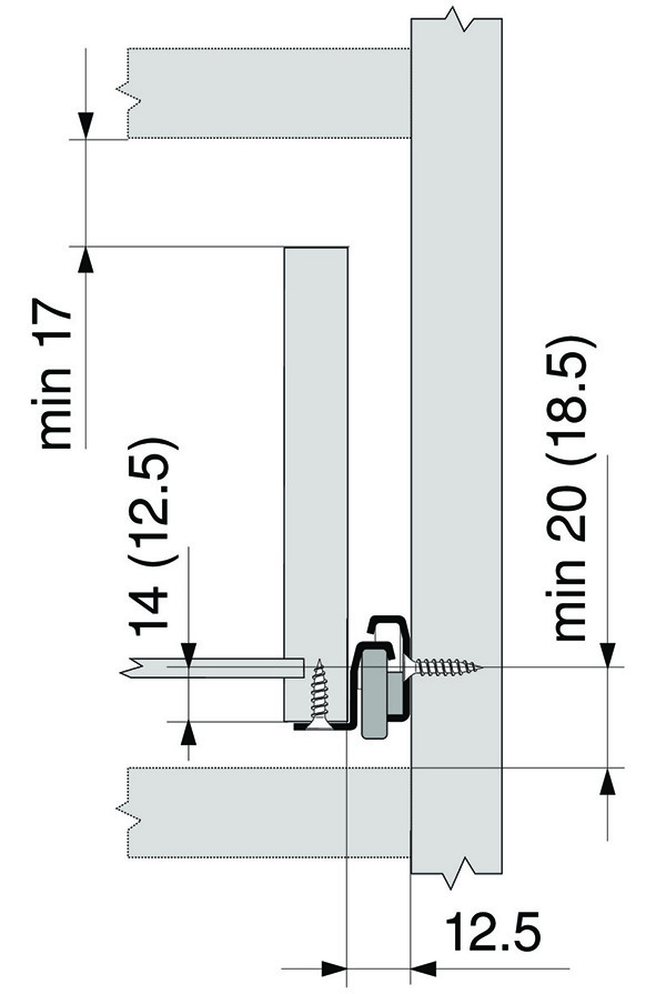Teilauszug-Rollschubführung BLUM Standard 230M/230E MP