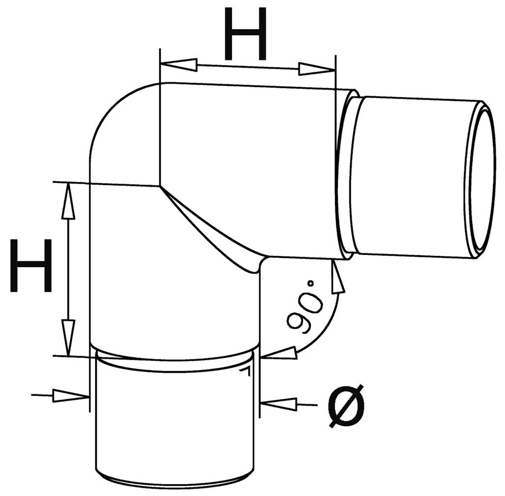 Rohrverbinder 90° für Barreling