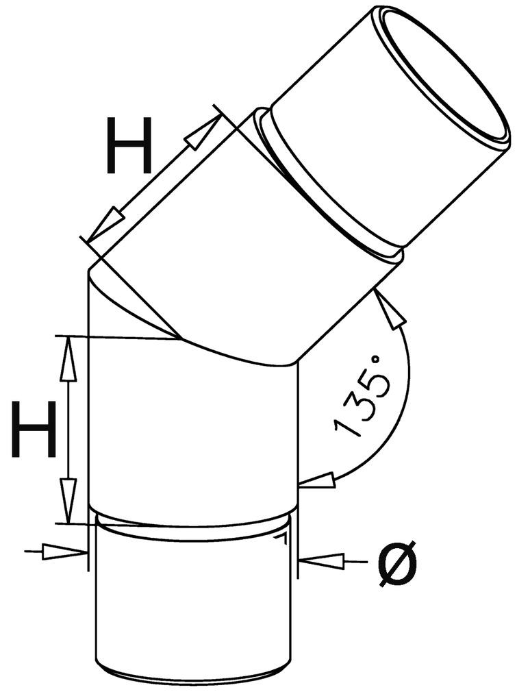 Rohrverbinder 45°/135° für Barreling