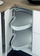 Eckschrank-Drehbeschläge NINKA MONDO für Eckmöbel 90° mit Falttüren, mit 2 ProArc Tablaren