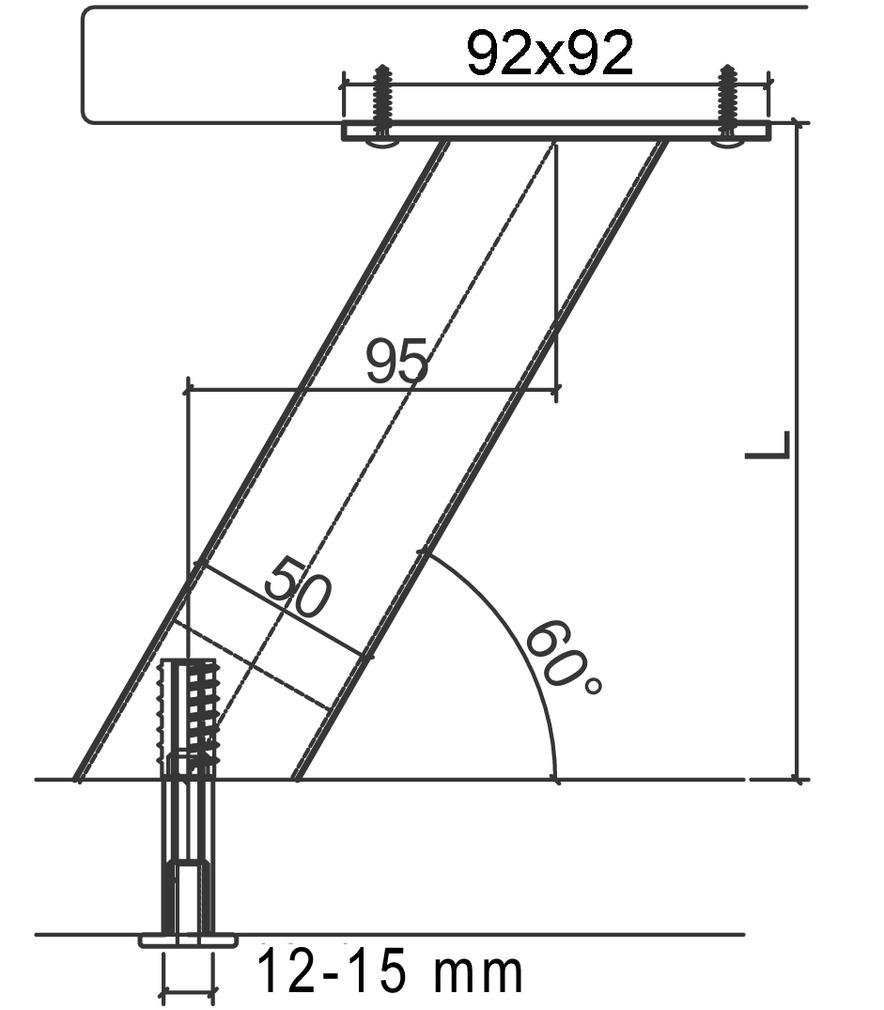 Barkonsolen für Holz- und Steinplatten, rund, ø 50 mm, gerade oder geneigt 30/60°