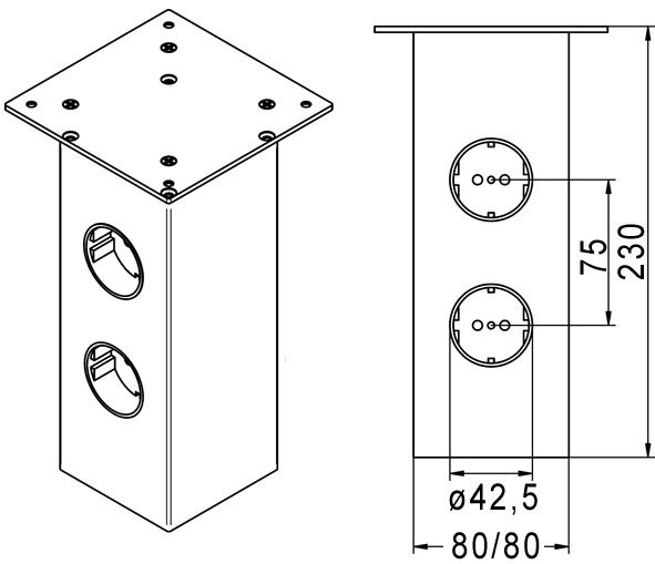 Barkonsolen Powerstation, eckig 80/80 mm, gerade