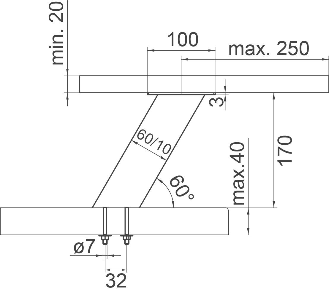 Barkonsolen Korfu eckig 60/10 mm, geneigt 30/60°