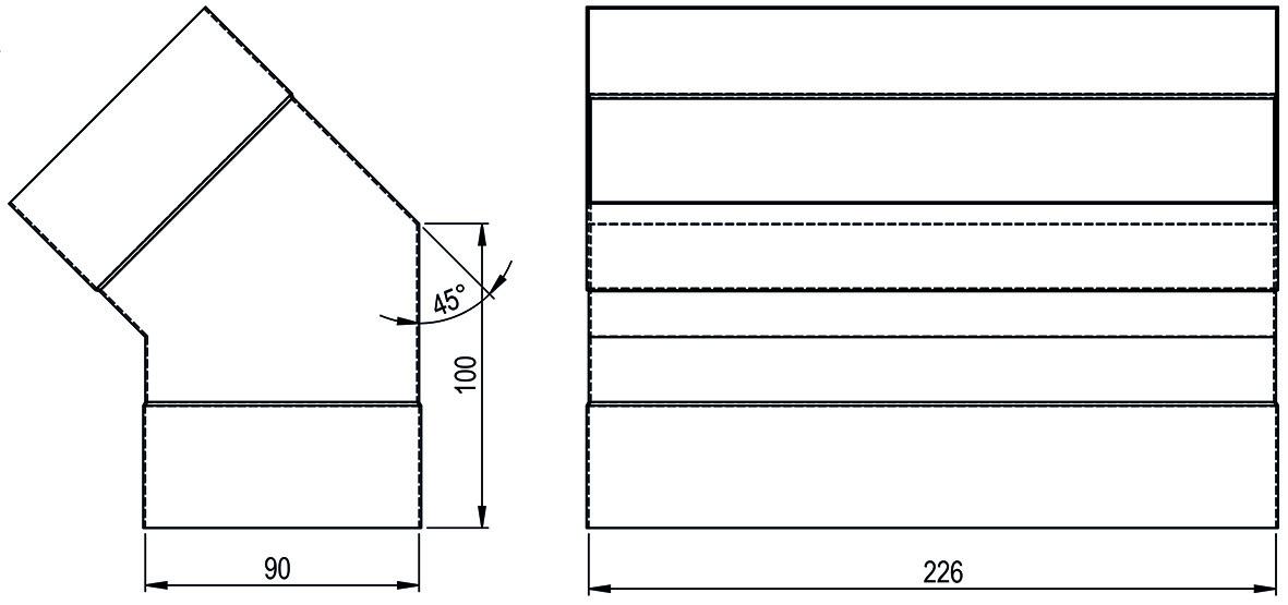 Bogen 45/90° HASTRAG für Flachkanal
