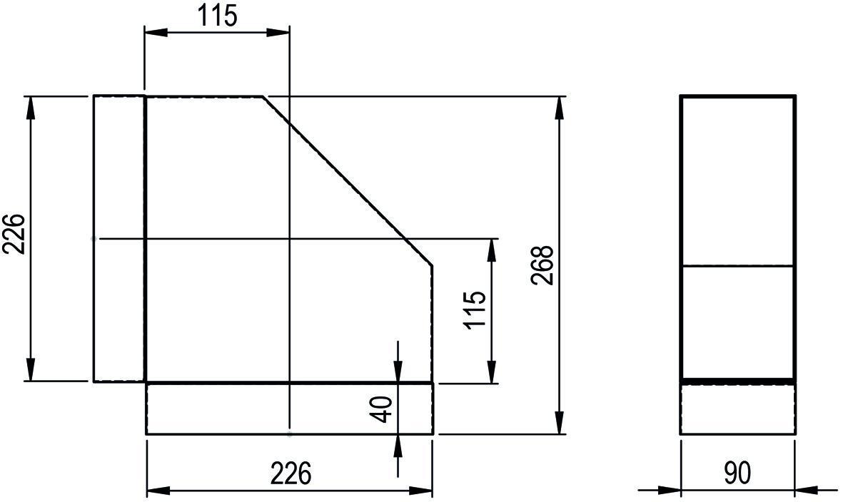Bogen kurz 90° HASTRAG für Flachkanal