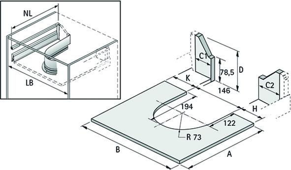 Metallumrandung für Siphonausschnitt