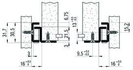 Teilauszug FULTERER 800mm FR 206 aufl. weiss, 80 kg