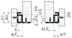 Teilauszug FULTERER 1000mm FR 206 aufl. weiss, 80 kg