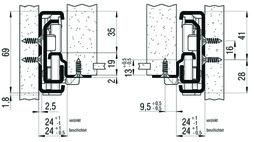 Vollauszug FULTERER 1000mm FR 7180 aufl. lichtgrau, 160 k