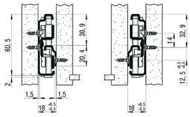 Vollauszug FULTERER FR 785 SCC 350 mm, seitl. Edelstahl, 60kg