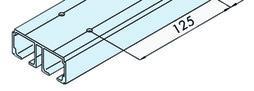 EKU 042.3002.350 Doppellaufschiene, Alu eloxiert, gelocht, 3500 mm