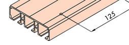 EKU 042.3084.350 Dreifachlaufschiene, Alu, eloxiert, gelocht, 3500 mm