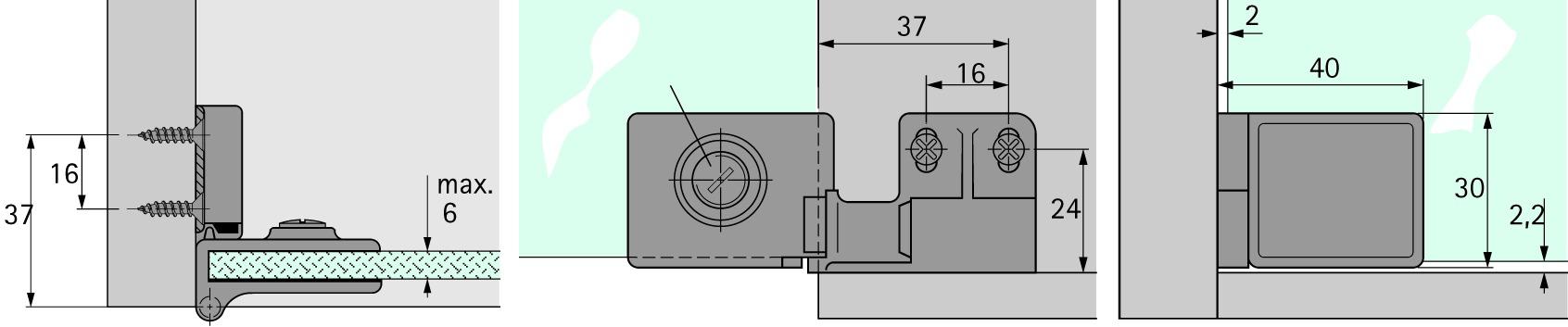 Glastürscharniere HETTICH ET 5150
