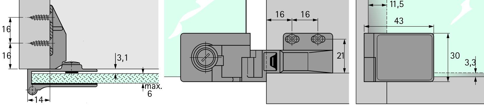 Glastürscharniere HETTICH ET 5160