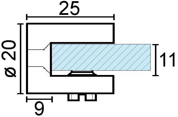 Glastablar-Klemmträger