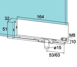 Oberlichtbeschlag PT 30 für Ganzglasanlagen DORMA Universal