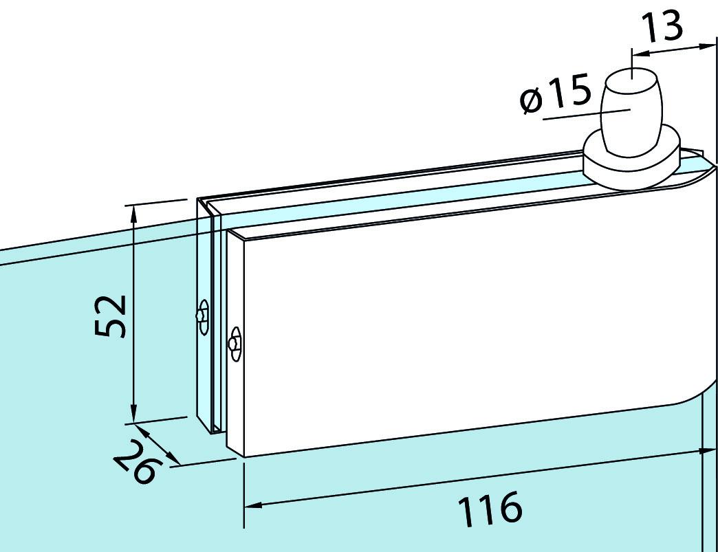 Oberer Eckbeschlag für Ganzglasanlagen DORMA Universal