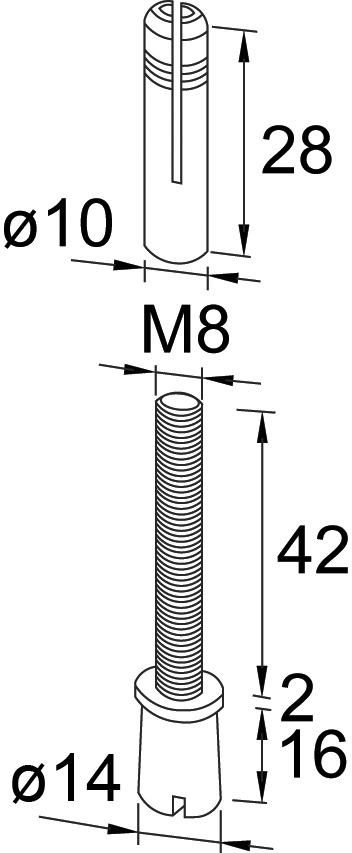 Oberer Zapfen PT 25 zu DORMA Mundus Comfort