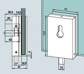 Überschub-Eckschloss für Ganzglasanlagen DORMA Universal