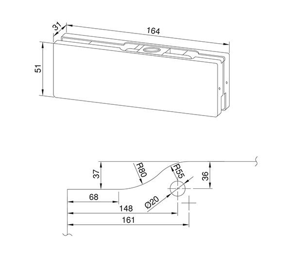 Eckbeschlag für Ganzglasanlagen KPF-2P/2X