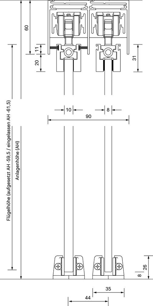Schiebetürbeschläge OK-LINE Slideflex GG 100